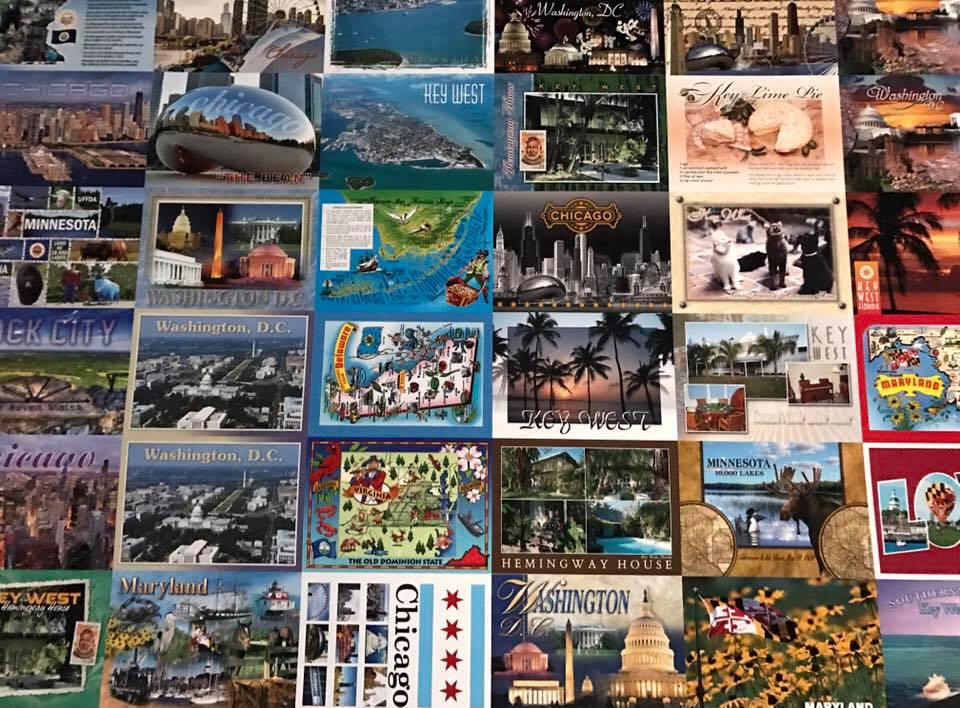 press sheet of postcards printed at McCormick Armstrong
